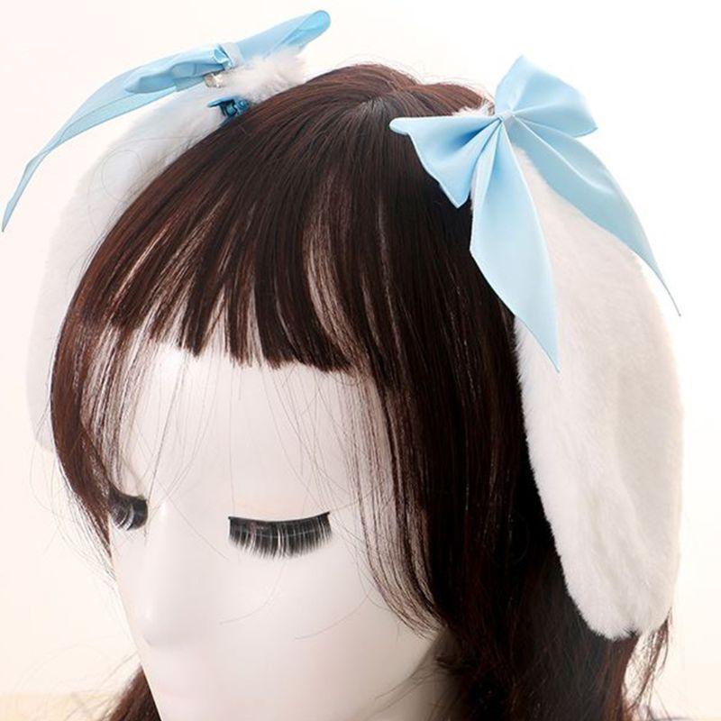 Kawaii Women Girls Hair Clip Cute Rabbit Bunny Plush Lop Ears Hairpin Candy Color Ribbon Bowknot Lolita Cosplay Hair Accessories