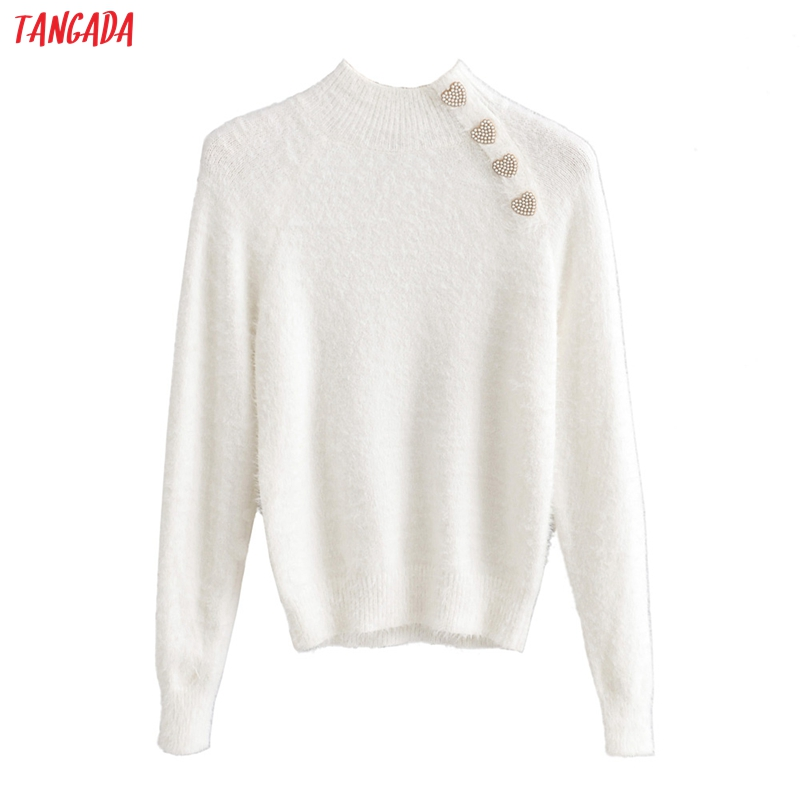Tangada korean style women solid turtleneck sweater pearl buttons female chic winter ladies fur jumpers sweater pull femme JN317
