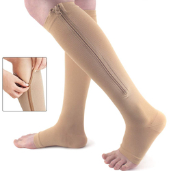 Unisex Open Toe Knee Length Zipper Compression Stockings Women Slim Sleeping Beauty Leg-Support Medical Prevent Varicose Veins