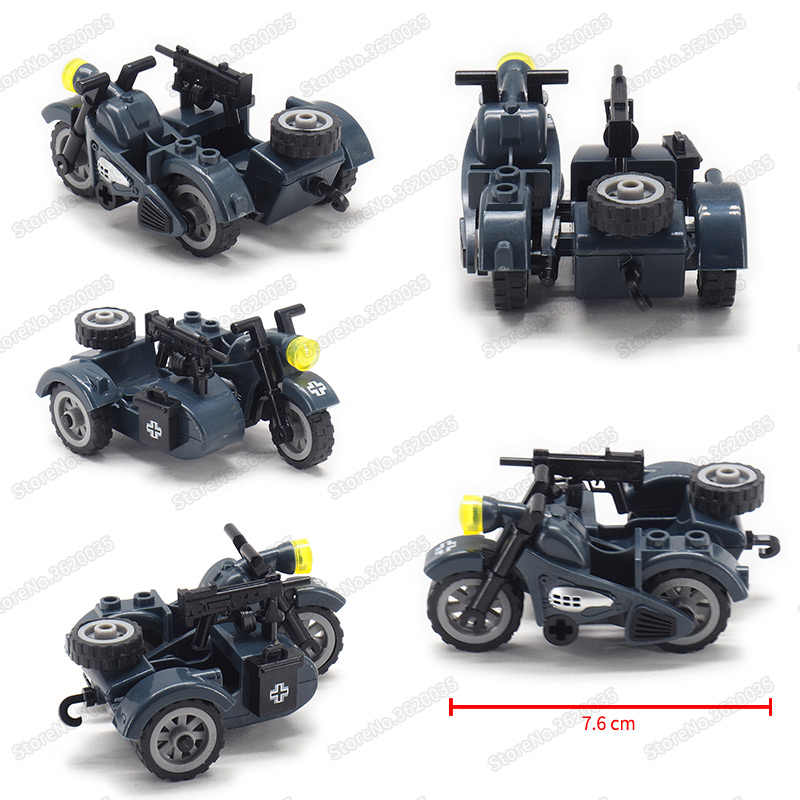 Legoinglys Military Armed Moto Car Assemble Building Blocks ww2 Figures Army Weapons Vehicle Model Moc Child Christmas Gift Toys