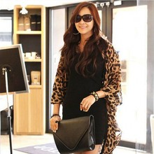 Women Cardigan Chiffon Blouse Leopard Print Batwing Sleeve Cape Tunic Cardigan Lady Tops Streetwear Women Tops And Blouse 2019(China)