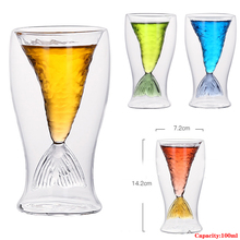 Faroot Mermaid Cup Juice Drink Ice Cream Double Transparent Glass Red Wine Whiskey