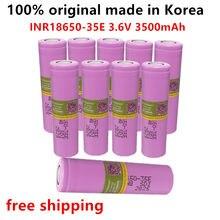 10 pçs 100% original feito na coreia 18650 3500mah 20a descarga INR18650-35E 3.7v 18650 bateria recarregável + frete grátis