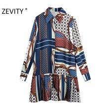 Zevity – Mini chemise plissée Vintage pour femmes, Patchwork géométrique, imprimé chaîne, ourlet plissé, bureau, Chic, DS4620