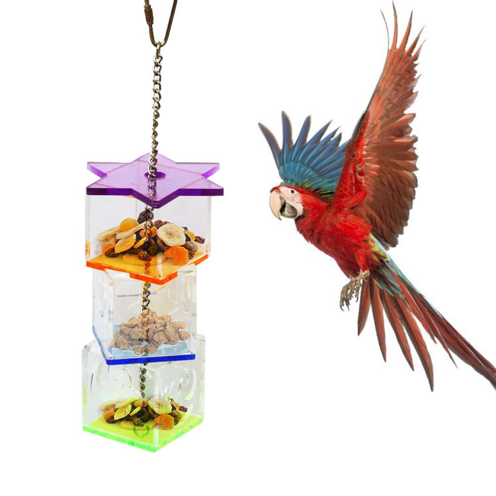 New Brain Game Toy Multilayer Bird Parrot Forage Box Hanging Treat Foraging Toy Transparent Acrylic Food Holder Toy For Parrot image
