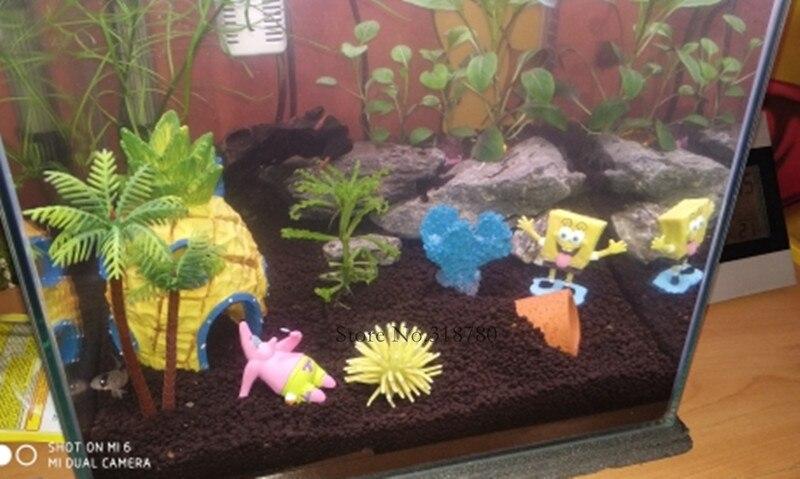 Aquarium Decoration Cartoon Figures House Starfish Coconut Palms Aquarium Plant Fish Tank Ocean Landscape Ornaments