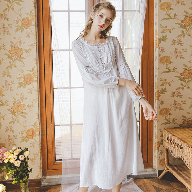 2019 New Sexy Retro Princess Sleepwear Openwork Stitching Skirt Long Nightdress Home Service Ladies GZ18