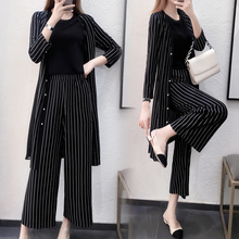2019 New Striped Three-piece suit top and pants Medium long