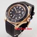 Parnis 41 мм Miyota 8215 5ATM автоматические золотые мужские часы с сапфировым стеклом  водонепроницаемые светящиеся керамические часы с черным цифер...