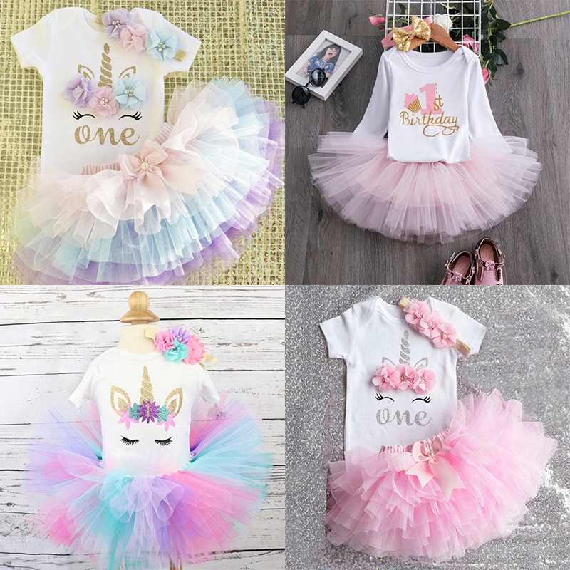 Baptism Dress Cake-Outfits Pink Tutu Birthday-Party First-1st Infant Baby-Girl Little