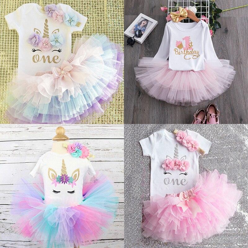 Robe mignonne avec tutu rose pour un premier anniversaire, de 0 à 12 mois, tenue pour enfant fille, bébé, vêtements de baptême, de fête
