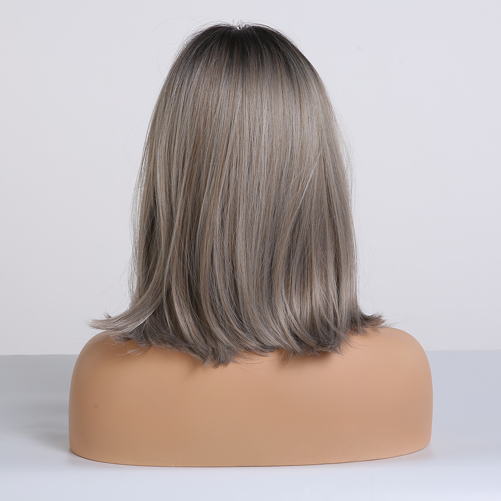 Image 3 - ALAN EATON Straight Short Wigs for Black Women Natural Black Ash Blonde Ombre Bobo Synthetic Wigs with Bangs Lolita Cosplay WigSynthetic None-Lace  Wigs   -