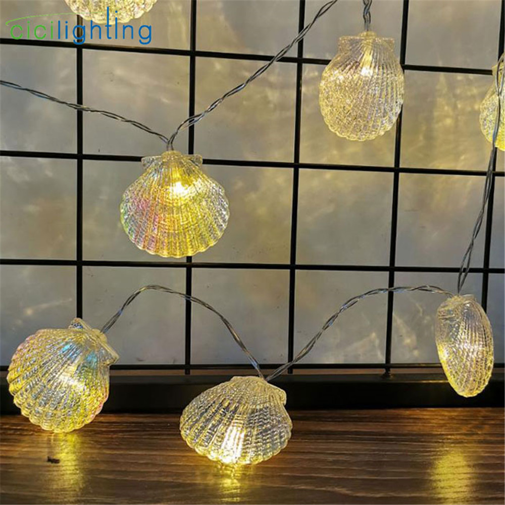 2019 New 1/2/3/4/6m Garland LED String Light AA Battery Colorful Shell LED Fairy Lights For Christmas Wedding Party Decor Lamp