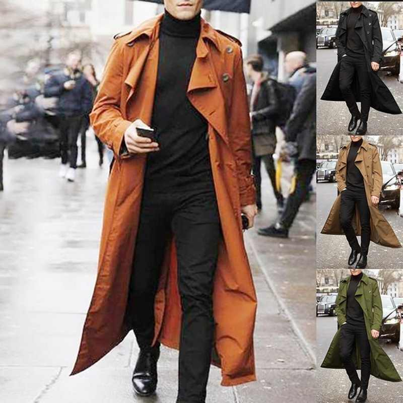 2020 Mannen Trenchcoat Heren Overjas Casual Slim Fit Windscherm Plus Size Solid Lange Jas Mode Winter Jassen