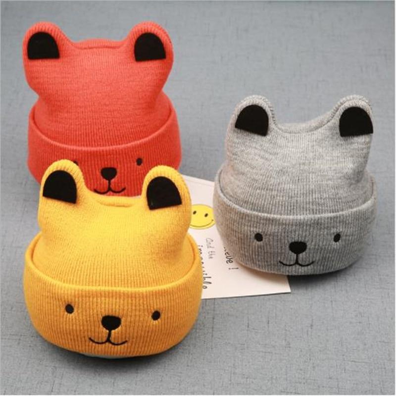 4 Colors Cute Baby Winter Toddler Kids Girls Boys Wool Hats Cartoon Bear Warm Crochet Knit Hat Infant Newsboy Beanie Caps