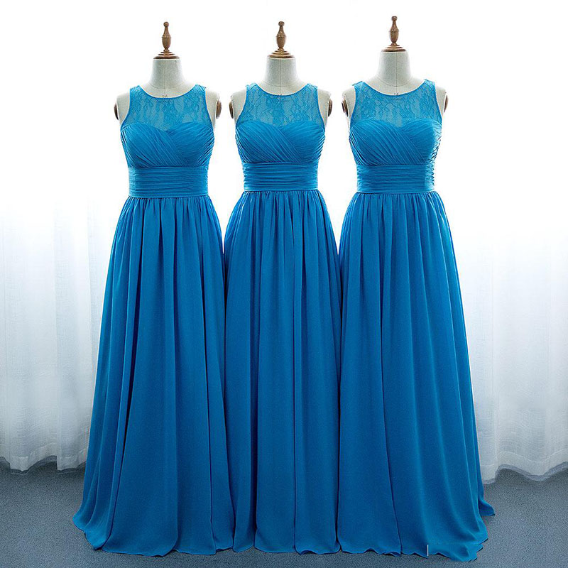 New Arrivals Chiffon   Bridesmaid     Dresses   2019 A-Line Princess Scoop Neck Floor Leangth Cheap Wedding Party Gowns For   Bridesmaids