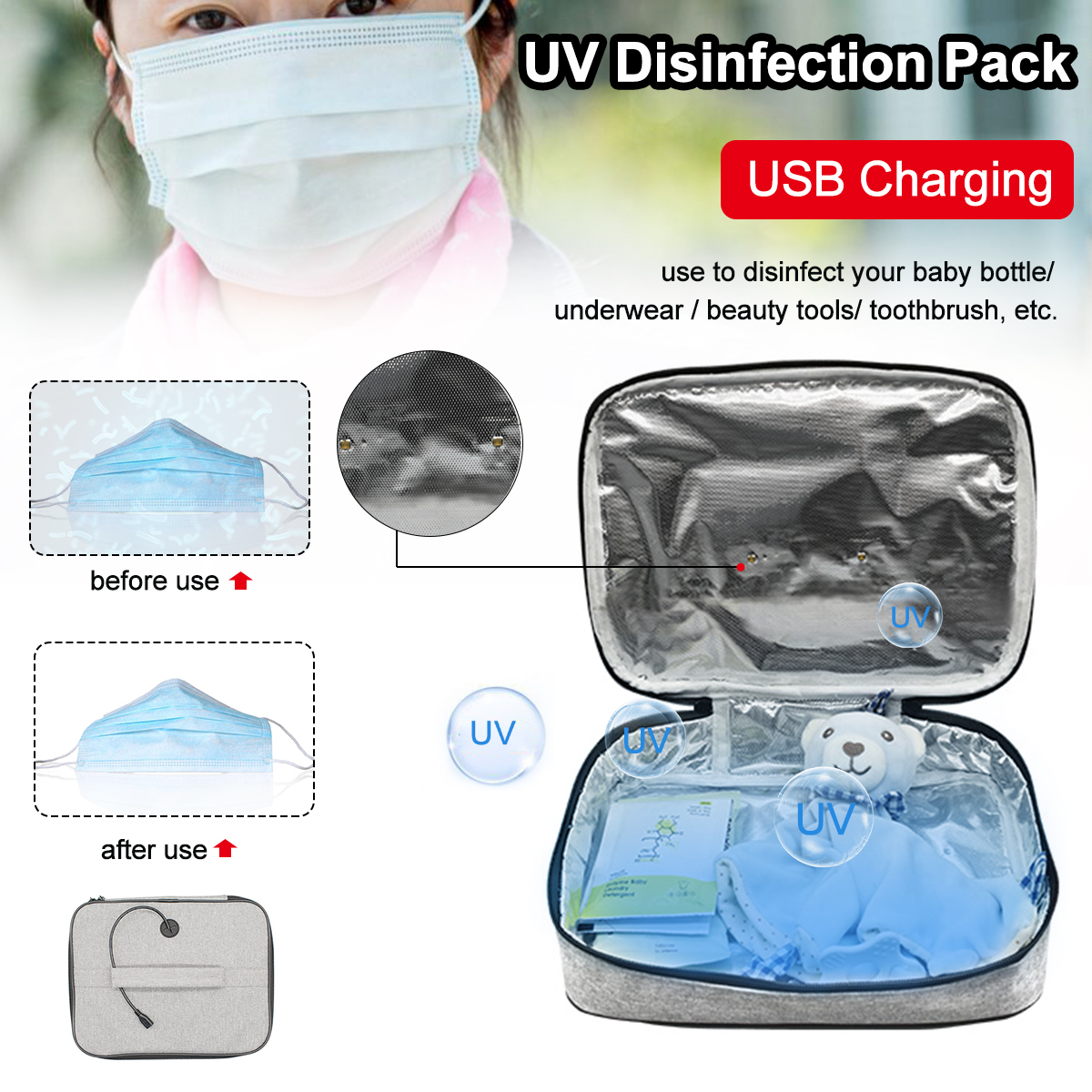UV Disinfection Pack Baby Milk Bottle Underwear Beauty Tools Mask Toothbrush Supplies Sterilization Box Package