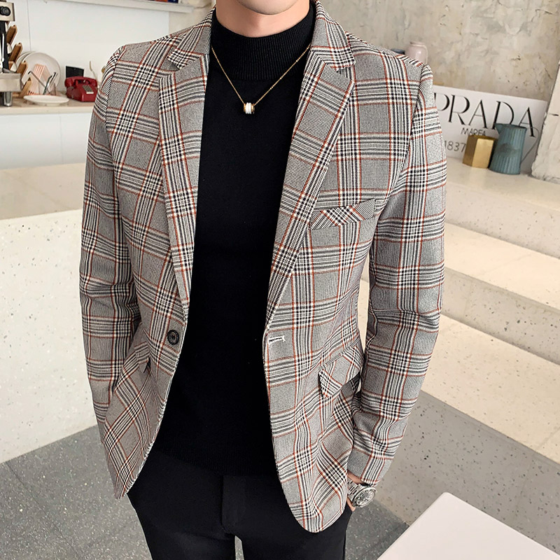Fashion Plaid Suit Men Jacket Size S  M  L  XL  XXL  XXXL  Autumn Winter Men Blazer Jackets Slim Design Men Casual Dress Suit