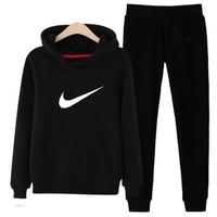 P69 3xl женские толстовки с капюшоном брюки комплект одежды повседневный комплект из 2 предметов теплая одежда однотонный спортивный костюм ж...