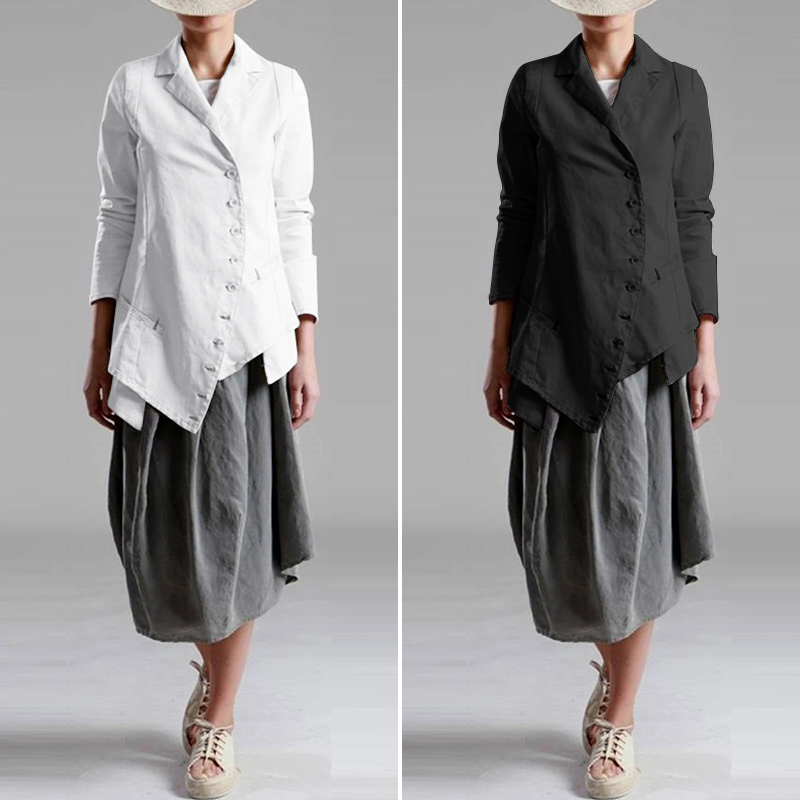 ZANZEA 2020 Vintage Office Lady Work Blazers Women Casual Asymmetrical Hem Blazer Fashion Female Single Breasted Suits Outwear 7