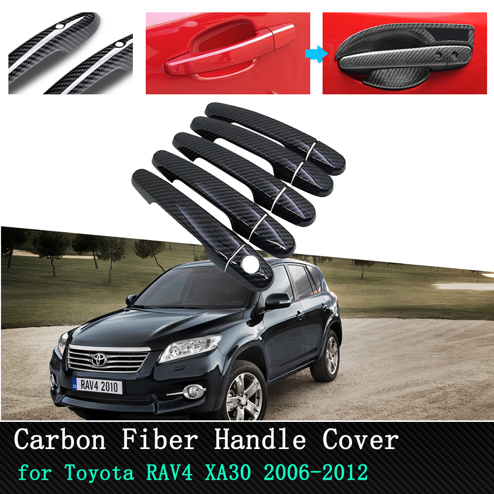 Car Exterior Accessories Door Handle protection carbon fiber Cover for <font><b>Toyota</b></font> <font><b>RAV4</b></font> XA30 2006 2007 2008 2009 <font><b>2010</b></font> 2011 2012 image