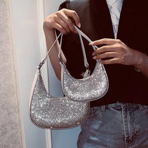 Модные женские сумки через плечо со стразами, дизайнерские сумки полумесяца, Роскошные блестящие вечерние сумки, серебристая сумка через п...