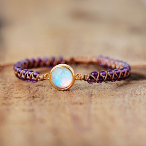 Stone Wrap Bracelets Femme Amethysts Opal String Braided Yoga Friendship Bracelet Bangle Bohemian Jewellery(China)