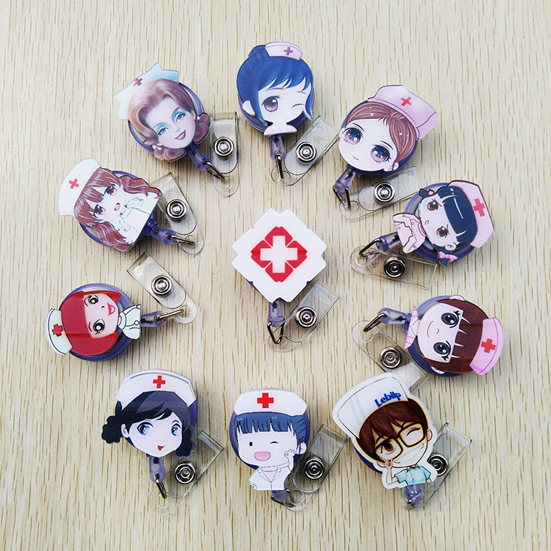 1 Pcs/lot New Foreign Trade Selling Lovely Cartoon Telescopic Badge Reel Bus Card Doctors Nurse Special ID Name Card Badge Holde