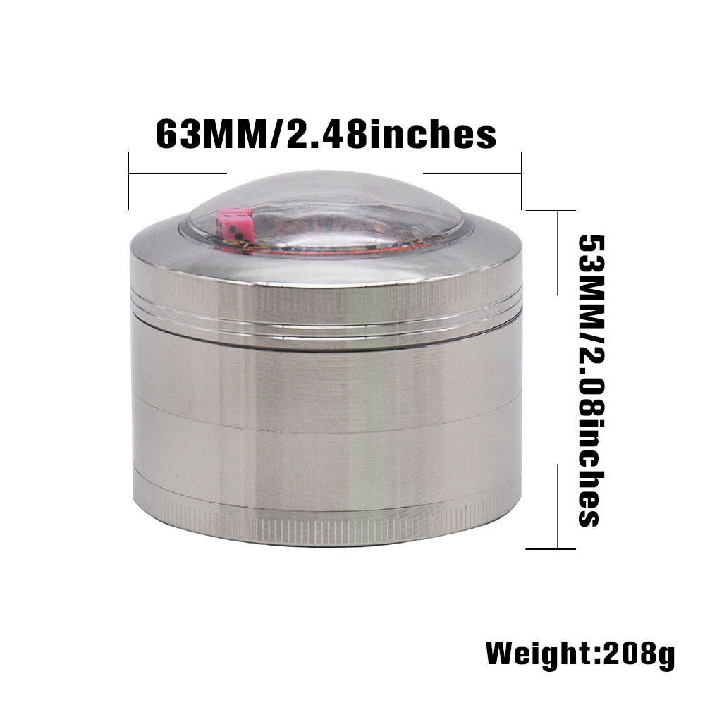 Zinc Alloy Smoking Herb Grinders With Dice Game Window 63MM 4 Piece Metal Tobacco Grinder Pollen Spice Crucher 1