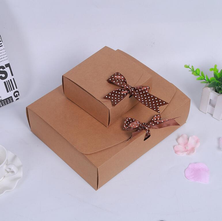 Venta al por mayor 100 Uds. Caja de regalo de papel cartón kraft caja de regalo grande para ropa/bufanda caja de papel de embalaje - 4