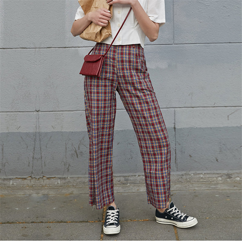 Alien Kitty Straight Brief Chic High Waist Plaid Red 2020 Chic Hot Sale Plus Slender Loose Women Casual Ankle-Length Trousers