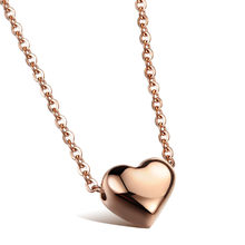 Heart Pendant Woman Collarbone Necklaces Romantic Silver/Rose Gold Color Stainless Steel Women Jewelry You Are My Only(China)