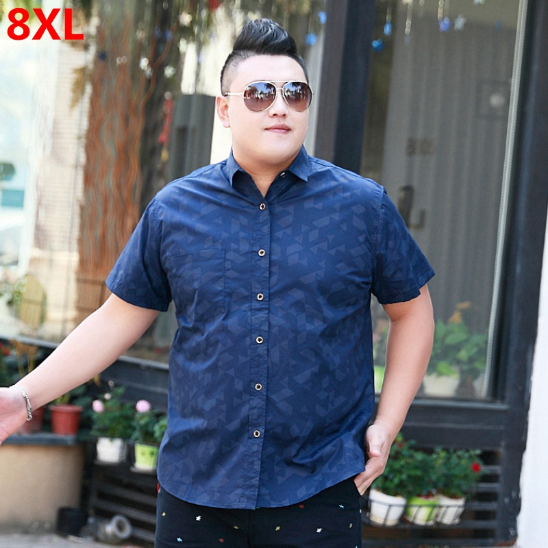 Summer Male Plus Size Lapel Business Casual Shirt Pocket Extra Large Obesity Tide Shirt 8XL 7X