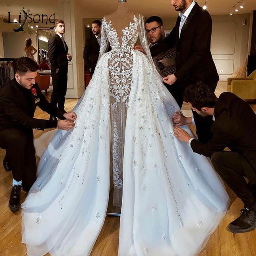 Sexy See Thru Lace Mermaid Wedding Dresses With Detachable Train Dubai Full Sleeves Bridal Gowns Robe De Mariee