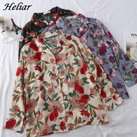 HELIAR Lady Buttoned Up V Neck Floral Printed Shirt Blouse Femme Top Office Lady Loose Shirt Female Summer Top For Women