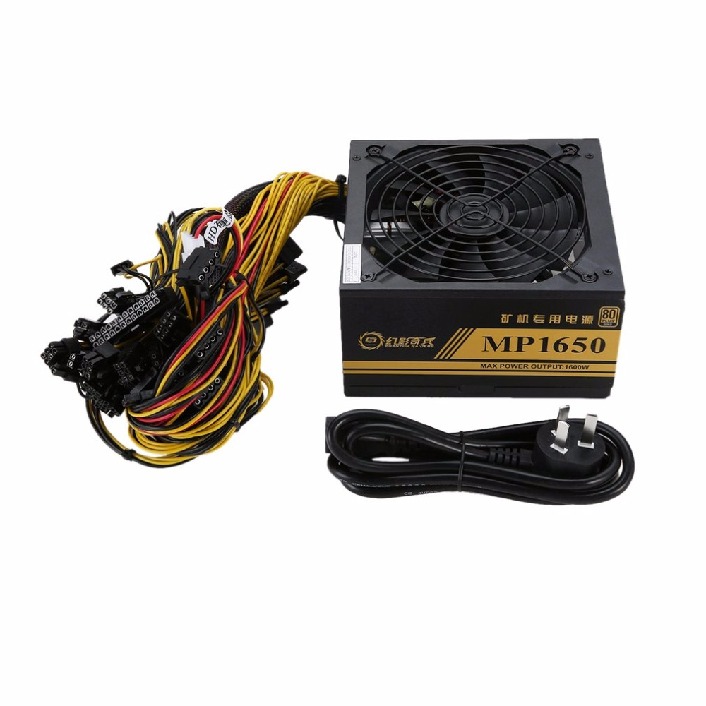 1600 Вт модульный источник питания для 6 GPU Eth Rig эфириум монета горная машина майнера с низким уровнем шума охлаждающий вентилятор для шахтера ...