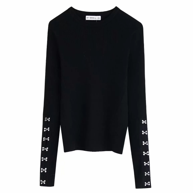 2019 Autumn Fashion Women Pin Buckles Patch Black White Color Knitting Sweater Female O Neck Casual Slim Pullover Chic Tops S222