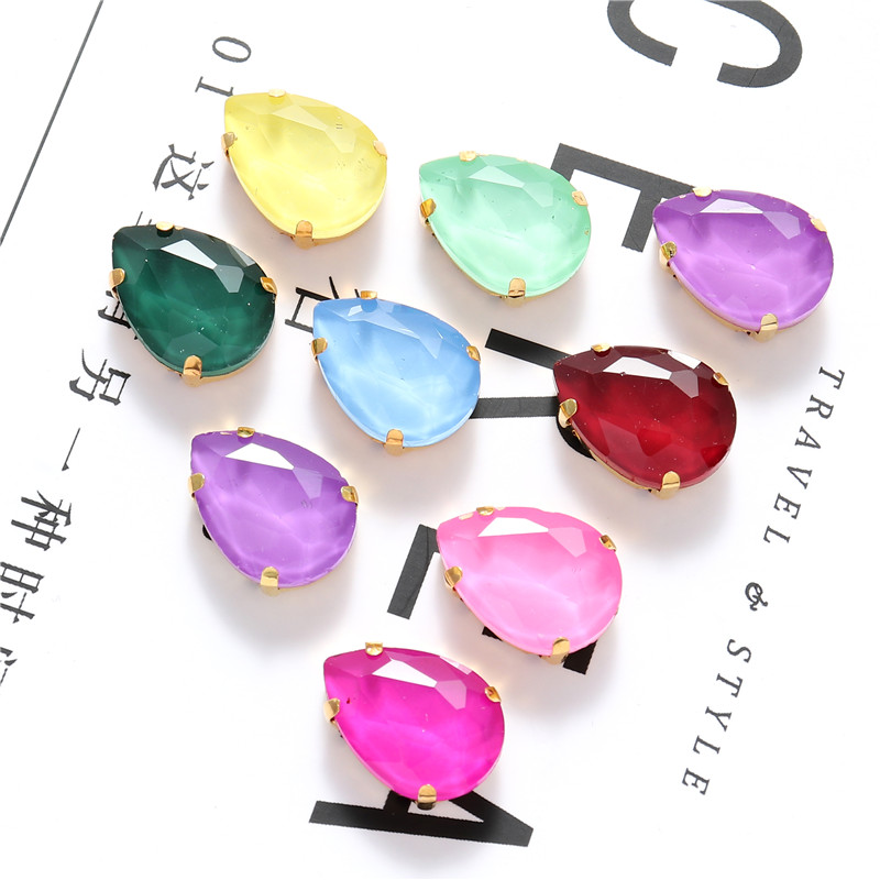 New Mocha Color Glass Rhinestones With Golden Claw Teardrop Crystals Sew On Stones For Garment Clothing Accessories DIY