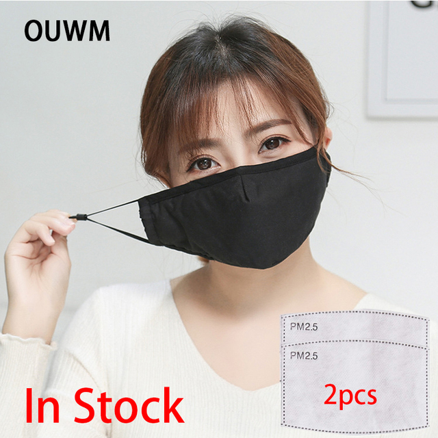 -- In Stock -- Cotton PM2.5 Black Mouth Mask Anti Dust Mask Activated Carbon Filter Windproof Mouth-muffle Bacteria Proof Flu