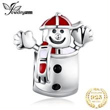 JewelryPalace Happy Winter Black Cubic Zirconia Red Enamel Snowman Bead Charm Fit Bracelets 925 Sterling Silver DIY