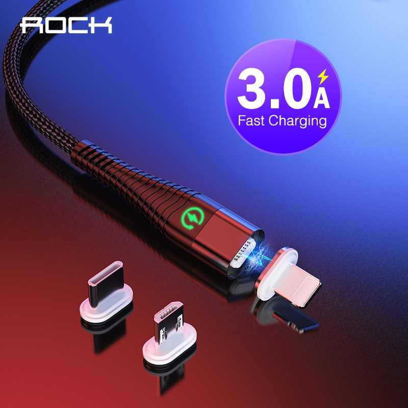 ROCK Magnetic USB Cable LED Light Microusb Type-C Cable for iPhone XS X Fast Charging USB Type C Charging Wire Cord for Samsung