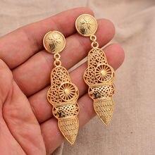 24k модные золотые ювелирные изделия из Дубаи длинные серьги
