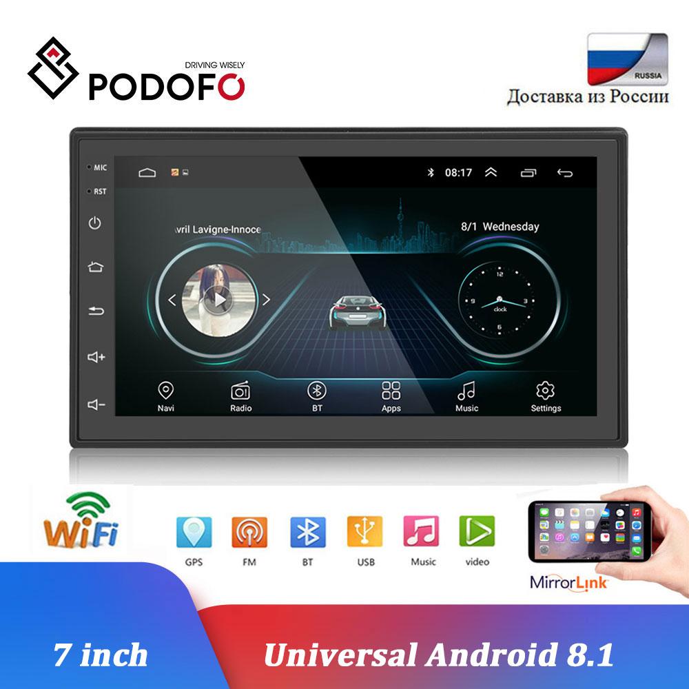 Podofo 2 din Android автомобильный радио мультимедиа MP5 плеер gps навигация Wifi 7