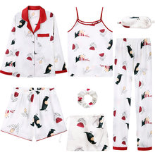 Perfering Nightgown 7 Pieces Pyjama Set 2019 Women Sexy Suits Sweet Cute Nightwear Home Clothes Sleepwear Casual Soft Silk INS(China)
