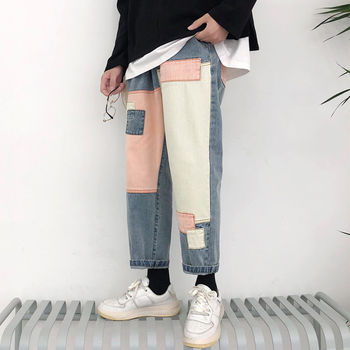 Straight Jeans Men's Fashion Washed Casual Retro Ripped Patch Jeans Trousers Men Streetwear Wild Loose Hip Hop Denim Pants Mens straight jeans men s fashion washed casual retro ripped jeans pants men streetwear wild loose hip hop ripped denim trousers mens