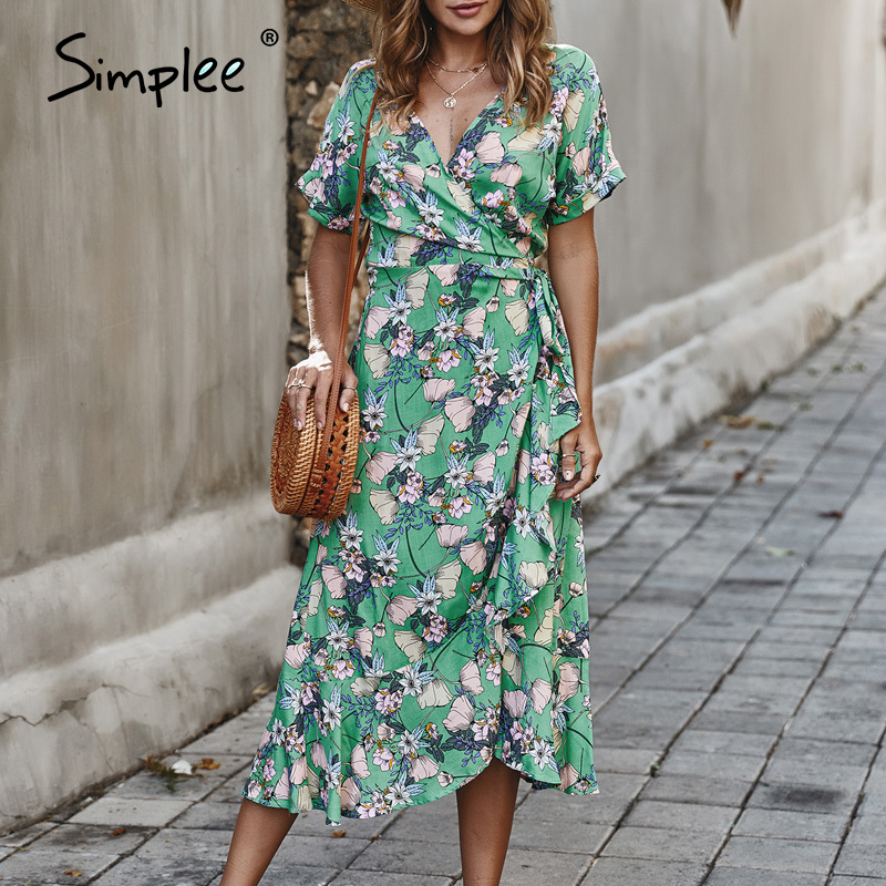 Simplee V-neck Floral Print Women Dress Casual Wrap Ruffled Sash Summer Beach Dress Casual High Waist Holiday Party Maxi Dress
