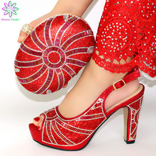 Matching Shoes Italian African Bags Women Nigerian And Bag-Set Red-Color