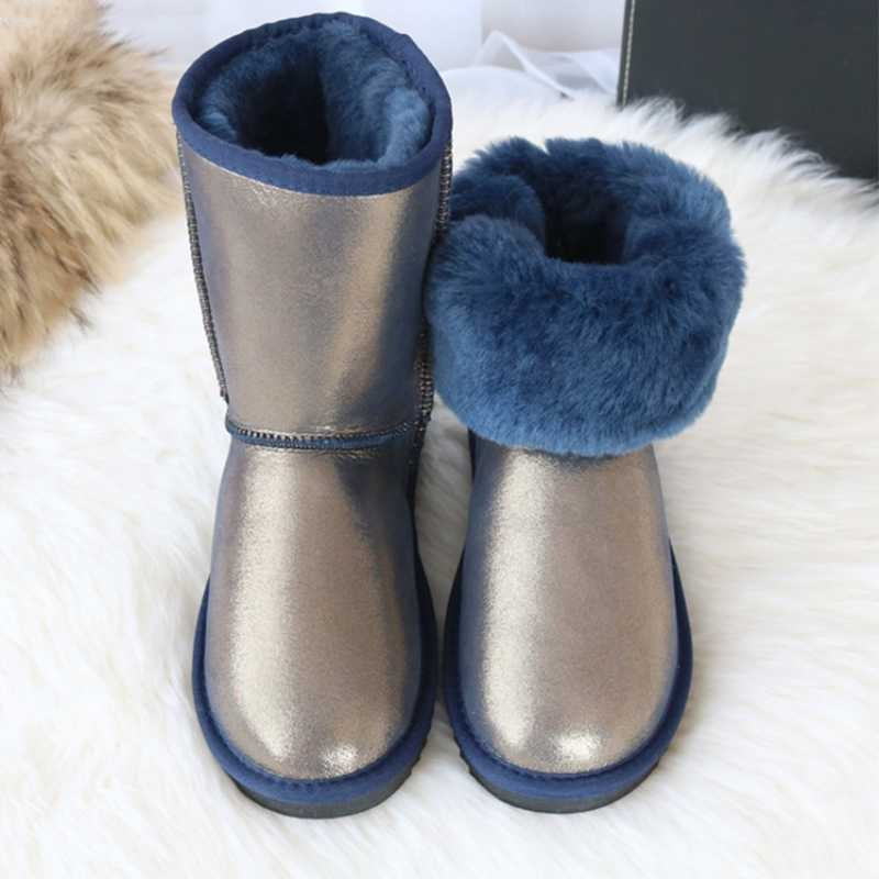 G&Zaco Luxury Australia Genuine Sheepskin Boots Shoes Women Wool Snow Boots Sheep Fur Shoes Winter Mid-Calf Classic Flat Boot