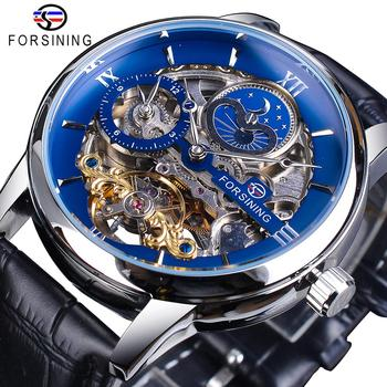 Forsining Dual Time Zone Skeleton Automatic Watch Blue Waterproof Genuine Leather Band Moon Phase Mechanical Tourbillon Watch leisure automatic mechanical genuine leather waterproof watch with rome digital business for various occasions m172s brown
