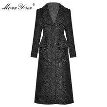 MoaaYina Fashion Designer wełniana tkanina wiatrówka płaszcz jesień kobiety jednorzędowy z długim rękawem zroszony płaszcz